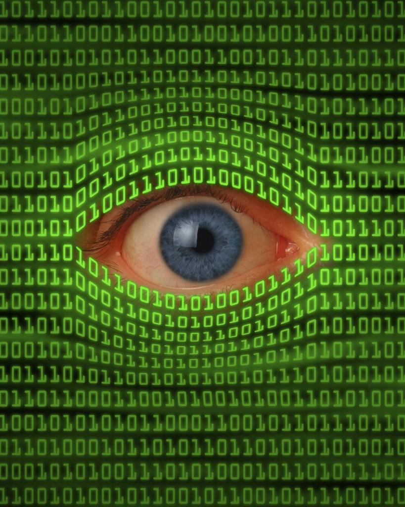 Eye Peeking Through Binary Code